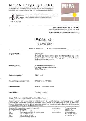 Prüfbericht der MFPA Leipzig